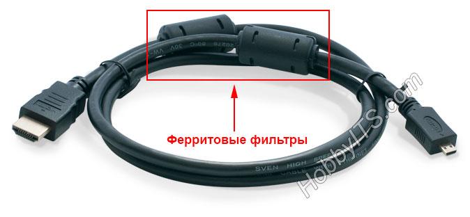 Ферритовые фильтры на кабеле HDMI