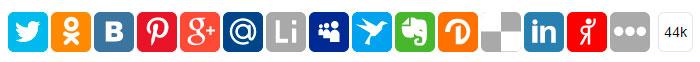 Многофункциональные кнопки соцсетей от сервиса UpToLike