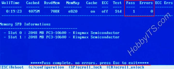 Ошибок в оперативной памяти программа Memtest 86+ не обнаружила