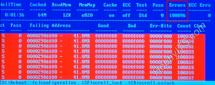 В оперативной памяти компьютера программа Memtest 86+ нашла ошибки