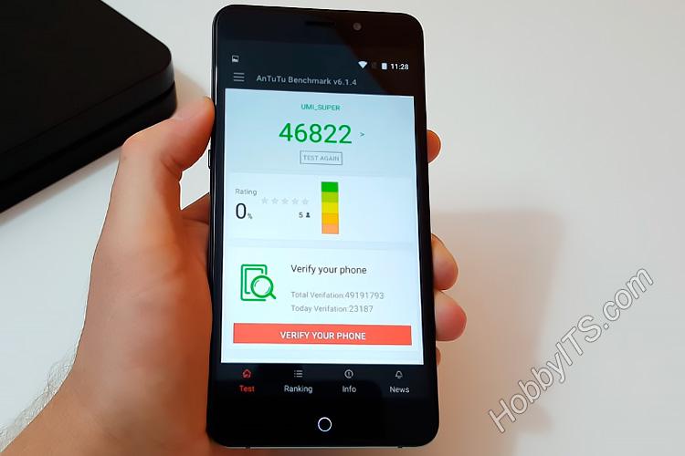 Тест AnTuTu на смартфоне UMI Super