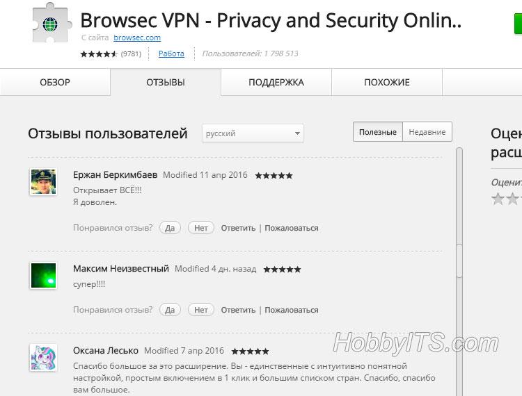 Отзывы о расширении для смены IP -адреса Browsec VPN - Privacy and Security Online