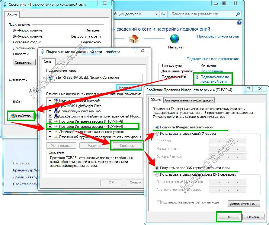 Автоматические параметры IP-адреса и DNS-сервера в Windows 7. Прошивка роутера TP-Link TL-WR741ND