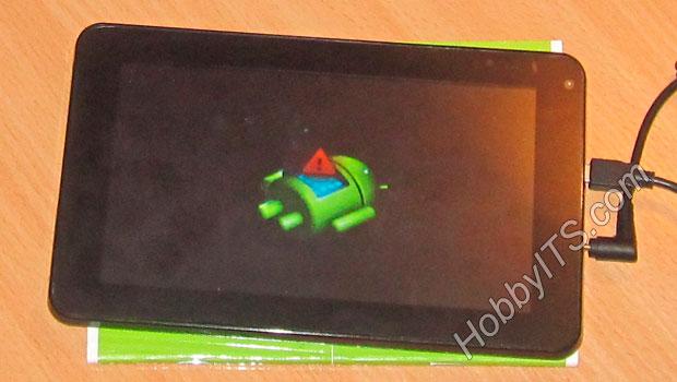 Сообщение от андроида лежащего на спине с открытым люком на пузе из которого показан восклицательный знак в красном треугольнике