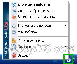 Интерфейс программы Daemon Tools Lite из области уведомлений панели задач