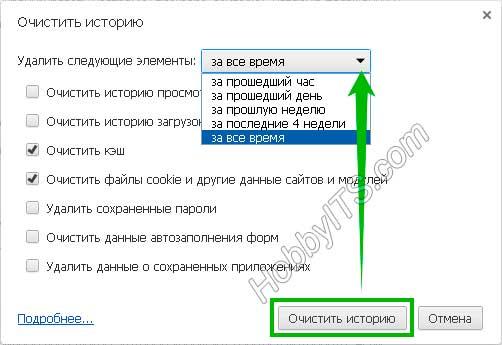 Окно очистки куки (cookies) и кэш (cache) в браузере Яндекс (Yandex)