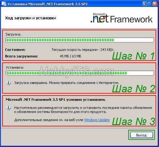 Ход загрузки и установки NET Framework