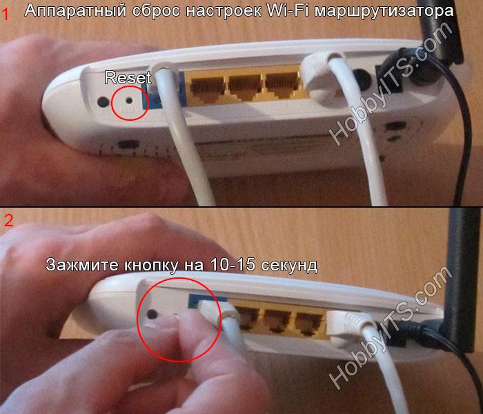 Аппаратный сброс Wi-Fi роутера на заводские настройки