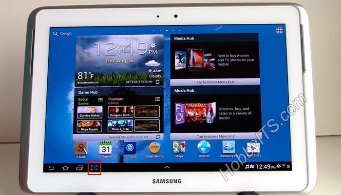 Скриншот на Samsung сенсорной кнопкой Screen Capture