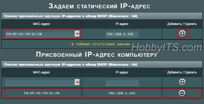 Задаем статический IP-адрес компьютеру в настройках роутера