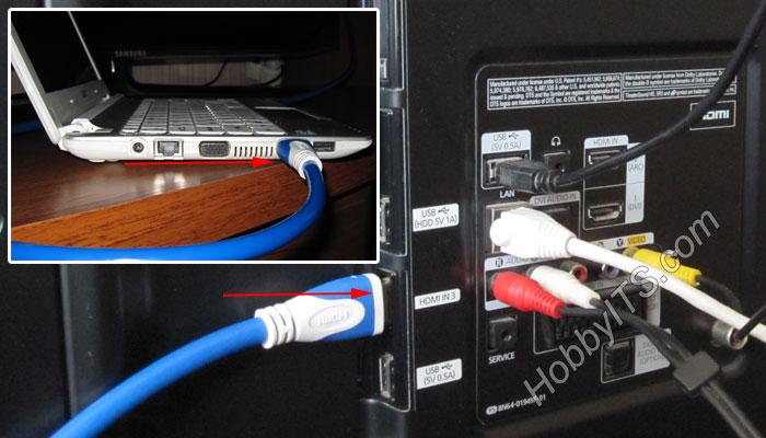 Подключение нетбука к телевизору по кабелю HDMI