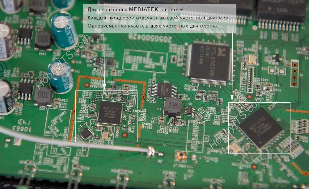 Одновременная работа в диапазонах 2.4 ГГц и 5 ГГц благодаря двум процессорам в роутере