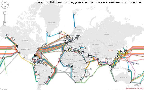 Карта Мира подводной кабельной системы