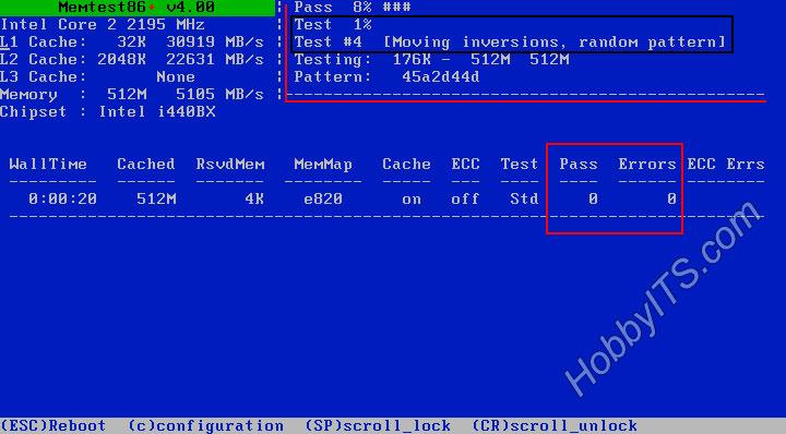 Интерфейс программы Memtest 86+ для тестирования оперативной памяти