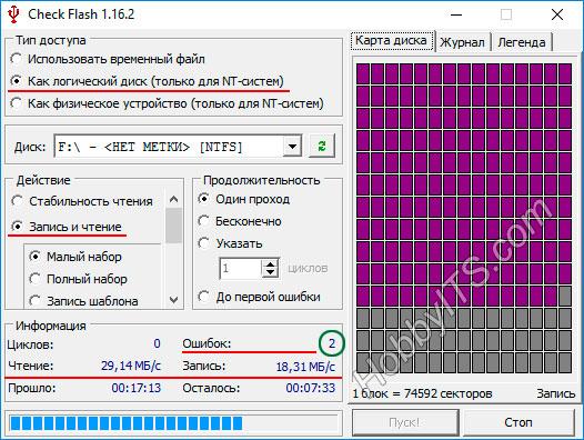 Проверяем скорость флешки в программе Check Flash