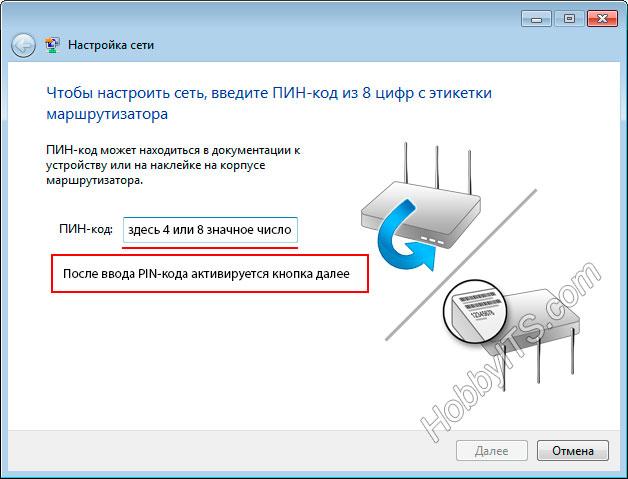 После ввода PIN-кода активируется кнопка далее