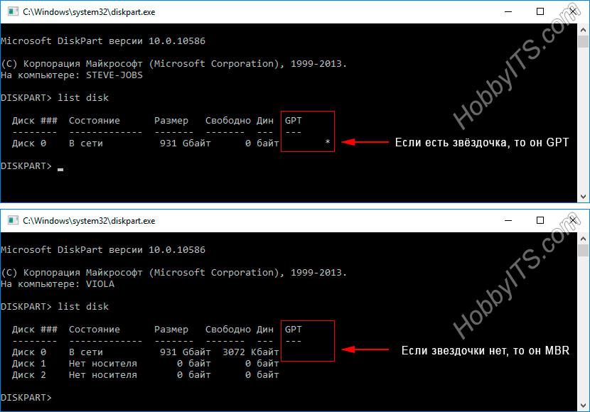 Определяем стиль раздела (MBR или GPT) в DiskPart