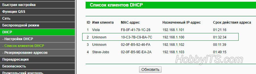 Находим IP-адрес репитера в списке подключенных устройств роутера