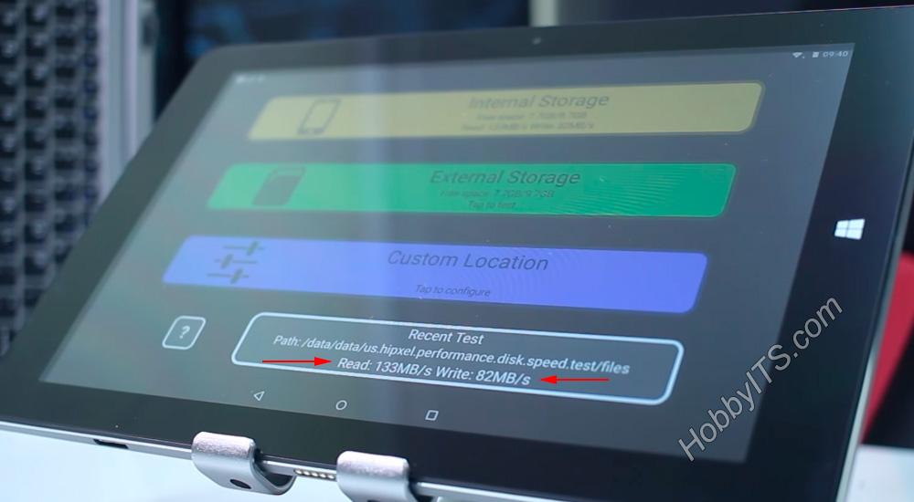 Тест на скорость чтения и записи данных на планшете CHUWI HiBook 2