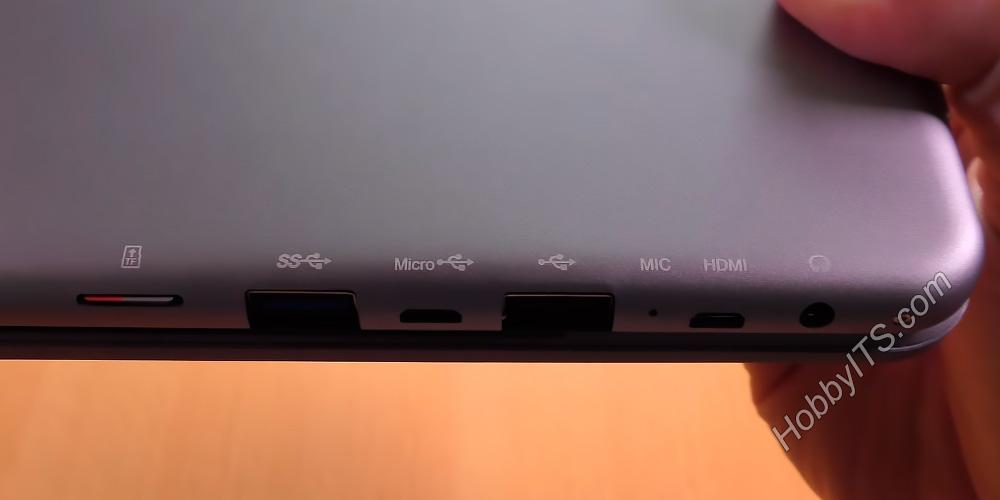 Динамик, USB и HDMI порты на торцевой стороне планшета Chuwi Hi12