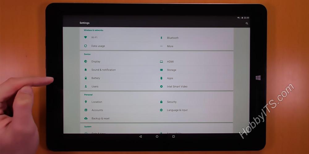 Настройки в планшете Chuwi Hi12