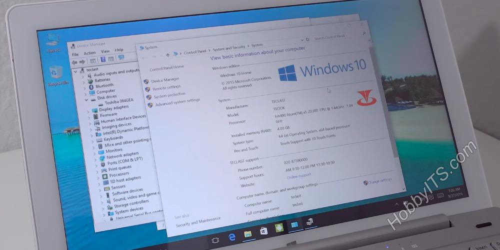 Параметры железа и операционной системы Windows в Teclast Tbook 16 Pro