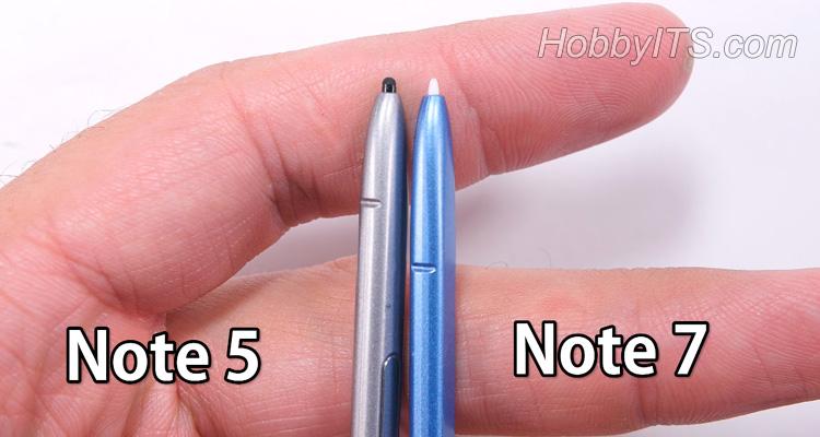 Сравнение двух S Pen от Note 5 и Note 7