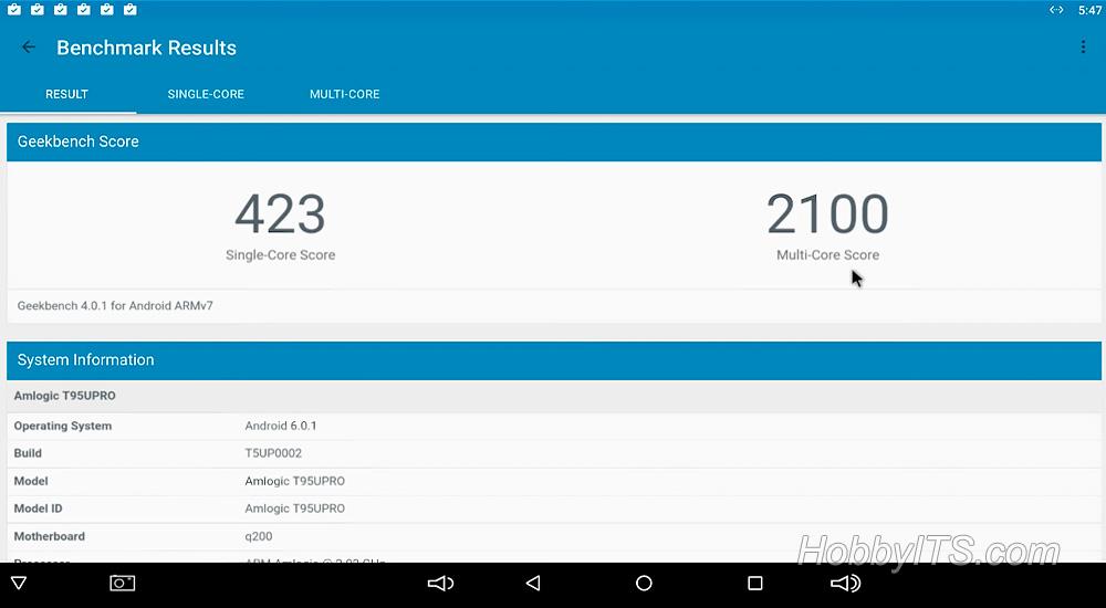 Результаты теста для ТВ приставки Sunvell T95U - PRO в Geekbench 4