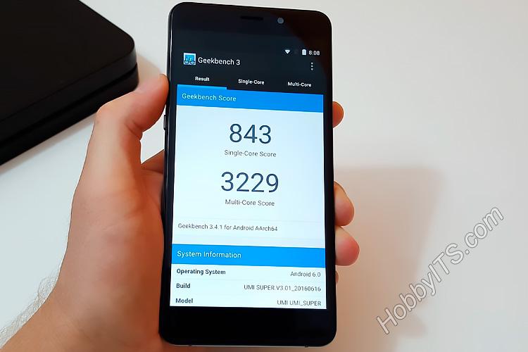 Тест geekbench 3 на смартфоне UMI Super
