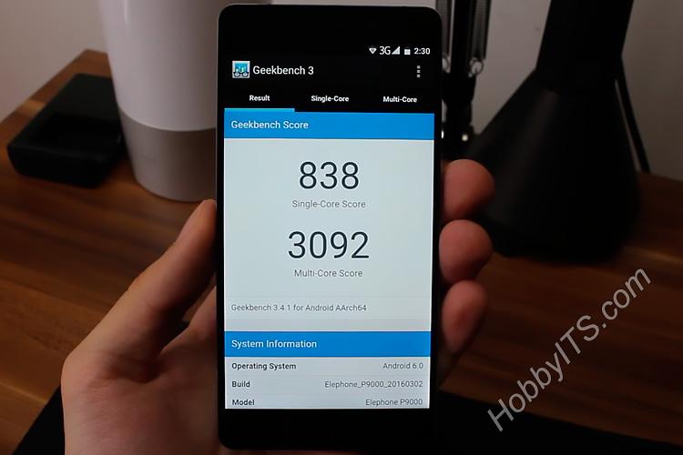 Результаты теста Geekbench 3 на Elephone P9000