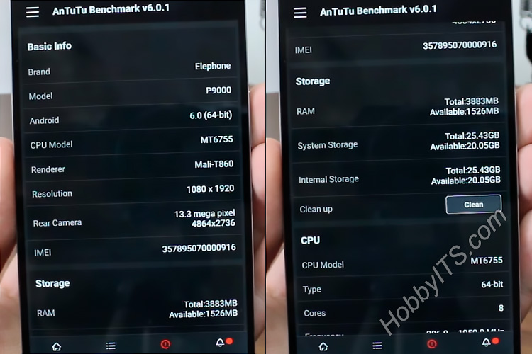 Тех. характеристики смартфона Elephone P9000