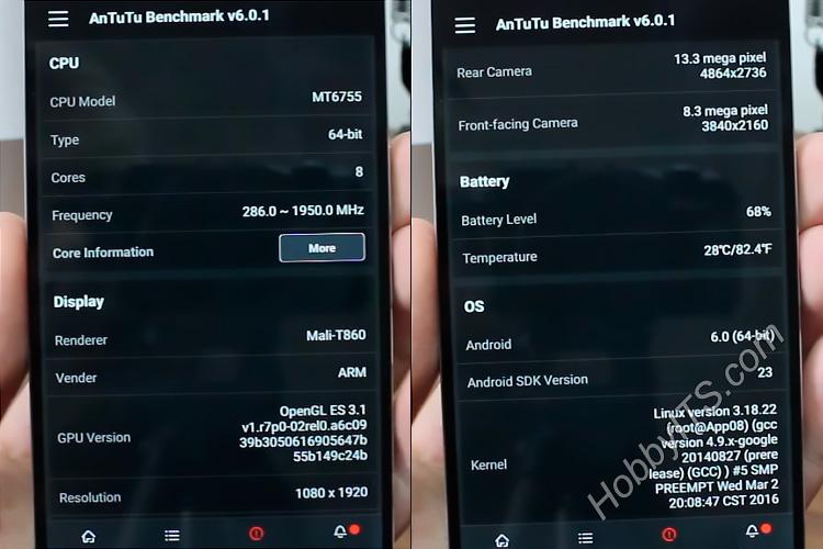 Техническая информация о телефоне Elephone P9000