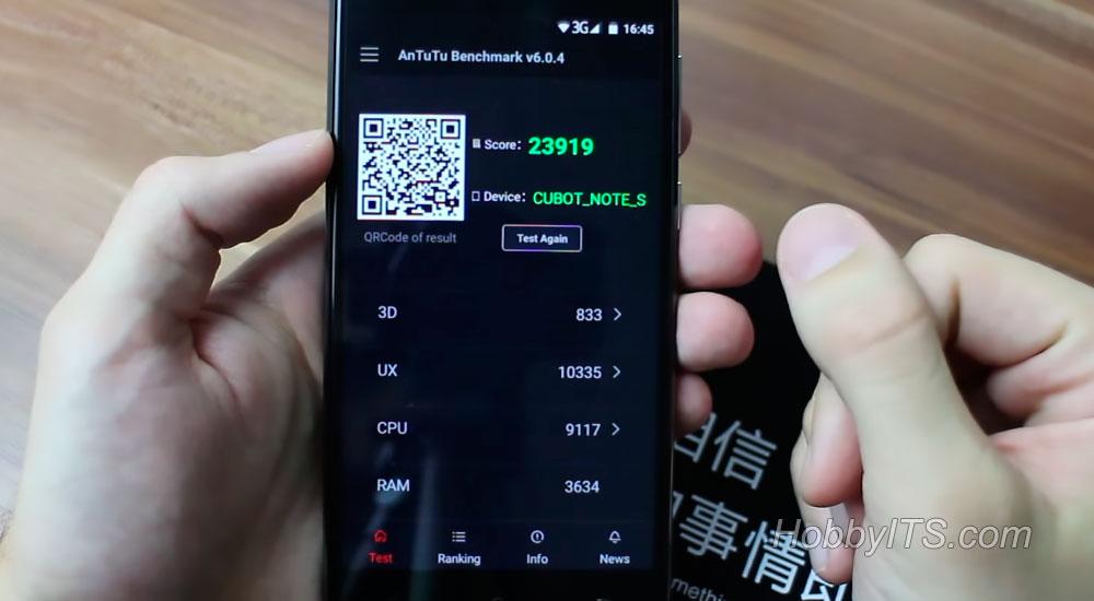 Результаты теста AnTuTu на смартфоне Cubot Note S