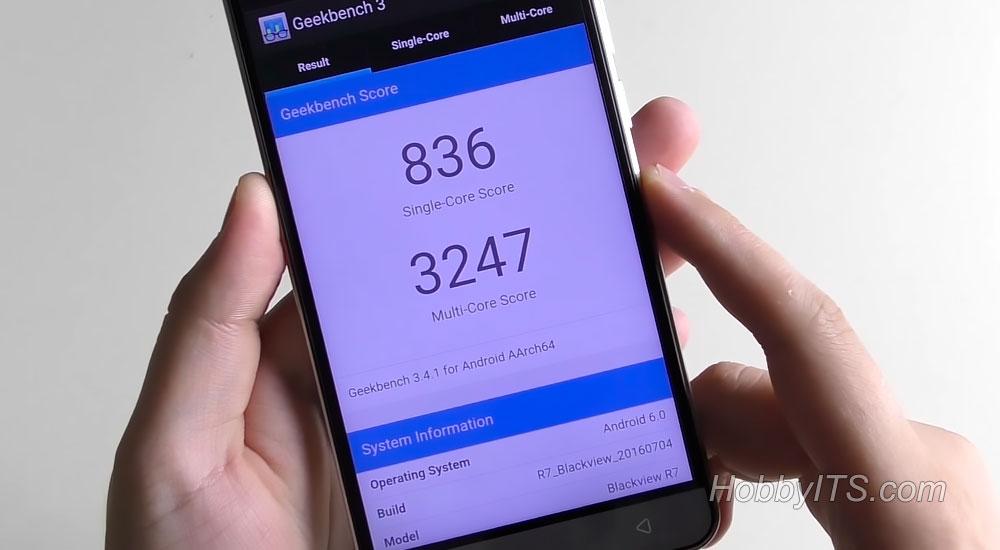 Общая оценка в тесте Geekbench для смартфона R7