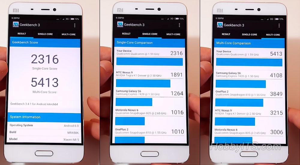 Тест смартфона XiaoMi Mi5 в Geekbench