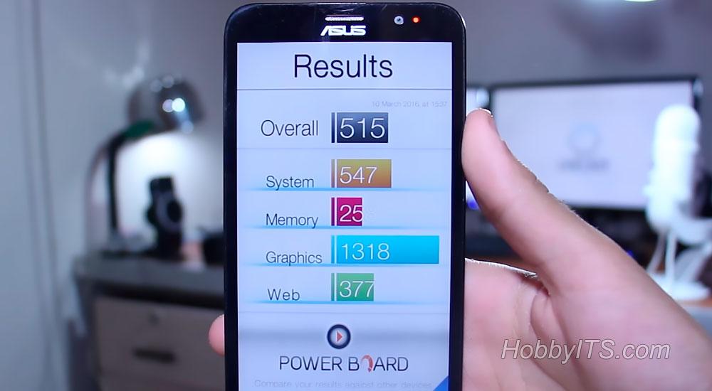 Результаты системы, графики, памяти Zenfone 2 DELUXE
