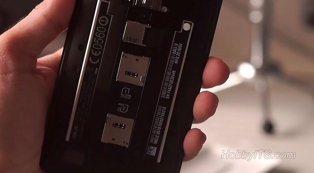 Asus Zenfone 2 DELUXE - слоты для SIM и SD карт
