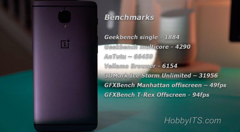 Результаты синтетический тестов (Geekbench, AnTuTu) OnePlus 3T