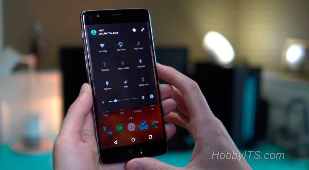 Опции на экране смартфона OnePlus 3T