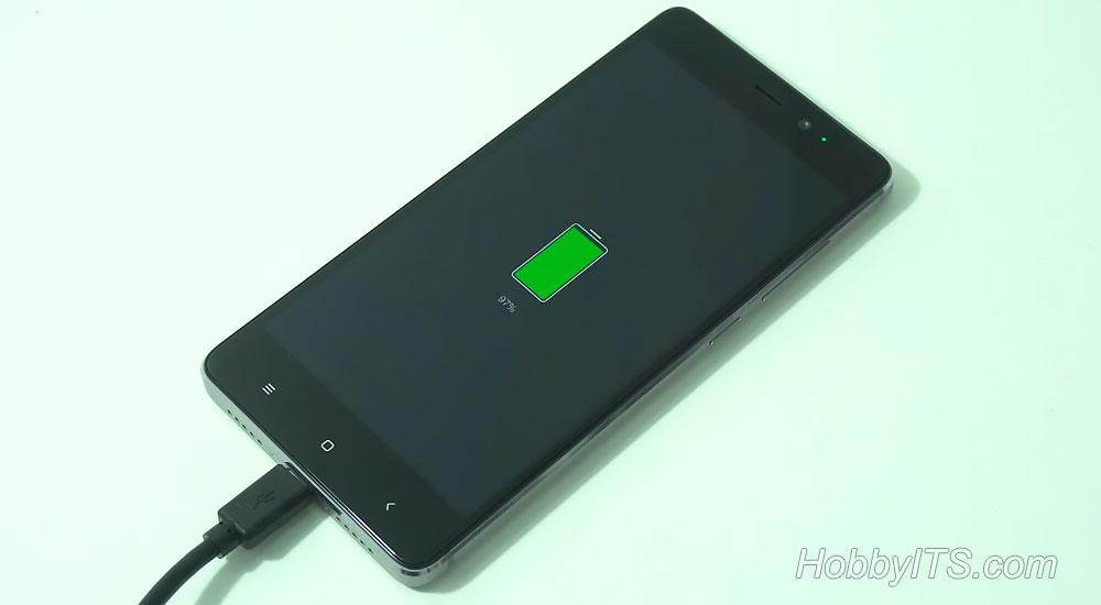 Процесс заряда телефона Xiaomi Redmi 4 Prime