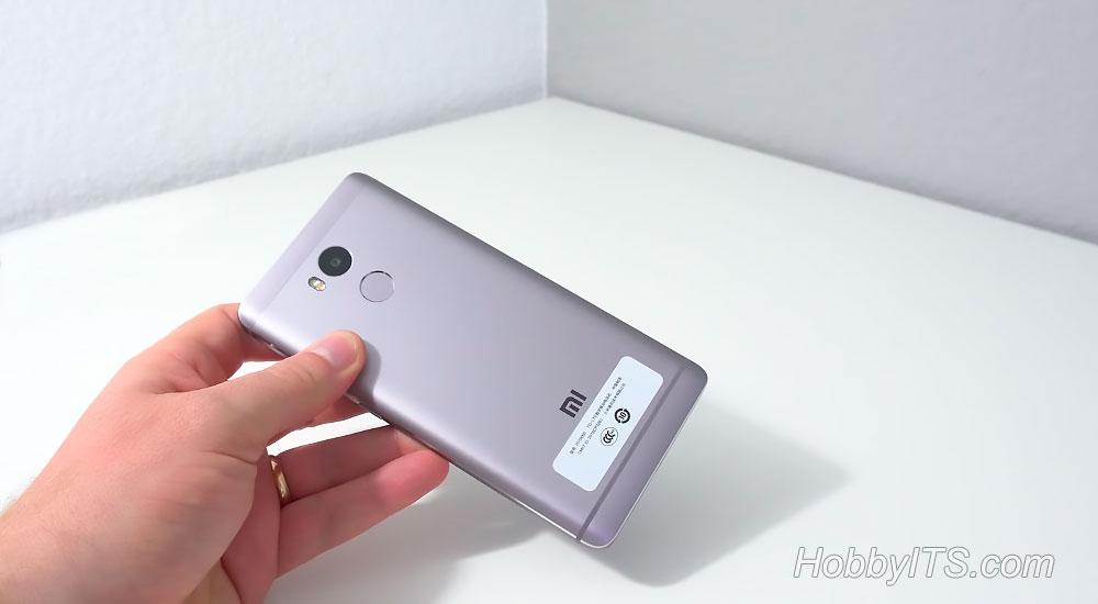 Тыльная сторона со сканером отпечатков пальцев и камерой на Redmi 4 Prime