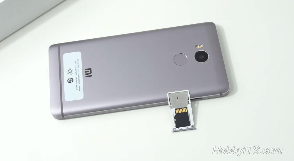 Сдвоенный слот для SIM и SD карт на Xiaomi Redmi 4 Prime