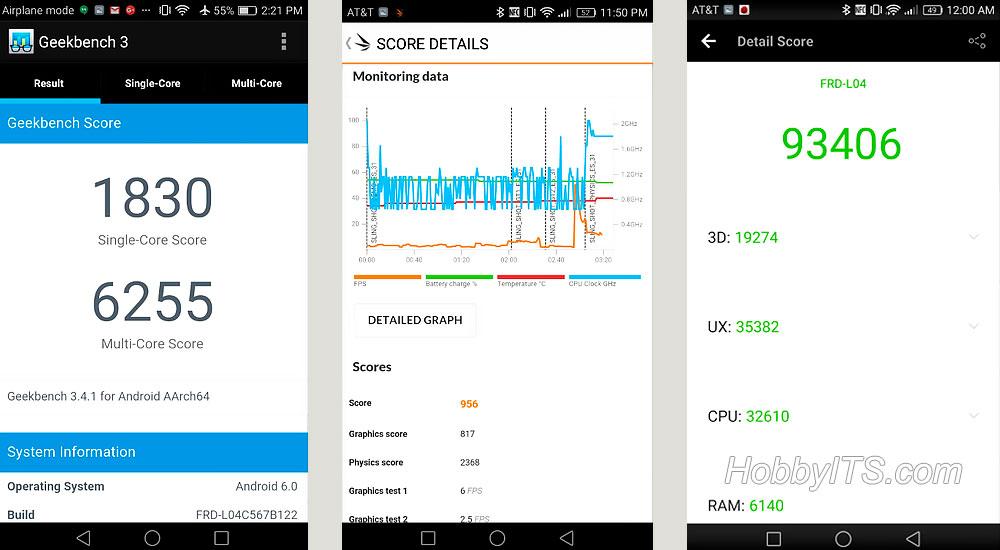 Результаты тестов Geekbench и AnTuTu на смартфоне Honor 8