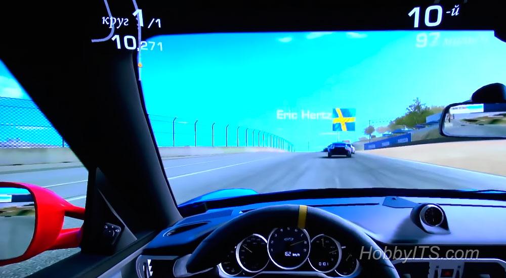 Вид из кабины в игре Real Racing 3 на Xiaomi Mi Android TV Box