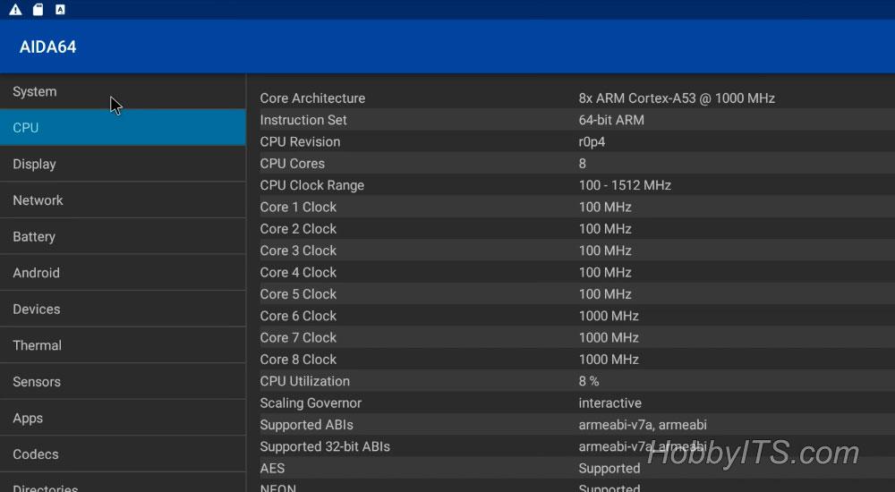 Параметры процессора в приложении AIDA 64 для T95K Pro