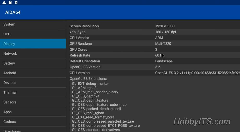 Параметры дисплея в приложении AIDA 64 на T95K Pro