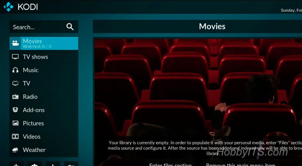 Интерфейс KODI 17.0 на телевизионной приставке MECOOL BB2 PRO