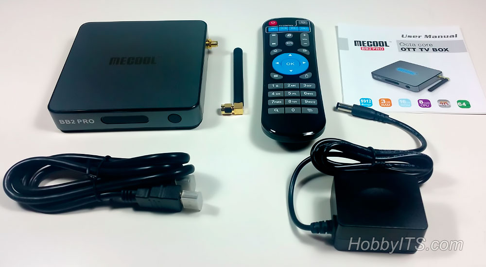 ТВ-приставка MECOOL BB2 PRO, пульт ДУ, HDMI кабель, зарядное устройство