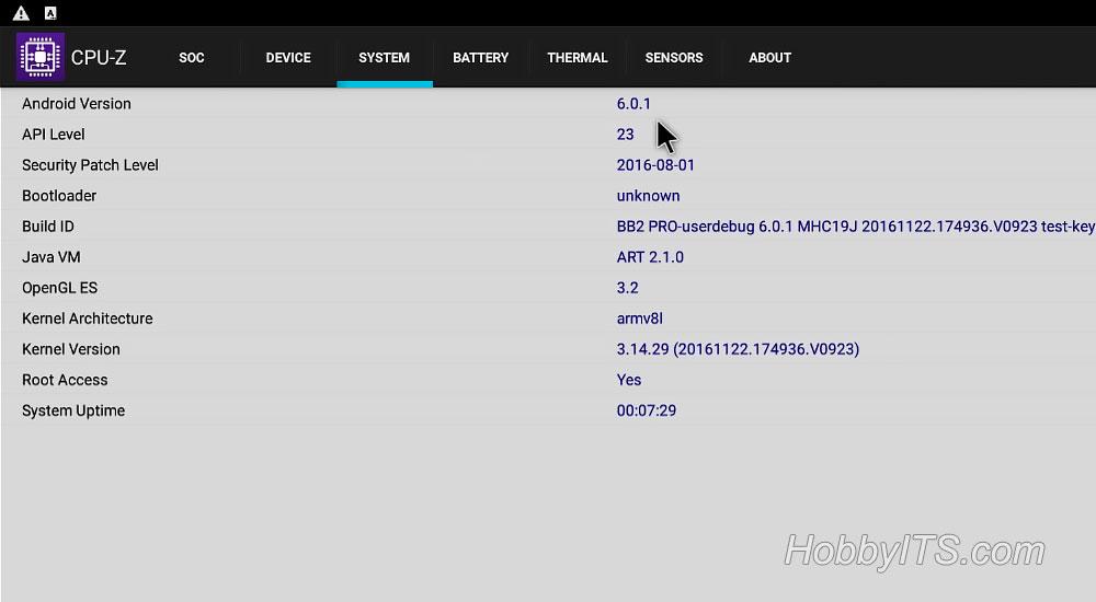 Результаты программы CPU-Z раздел SYSTEM на ТВ-приставке MECOOL BB2 PRO