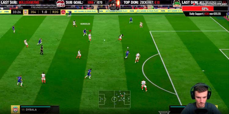 Большое количество пользователей на Twitch в прямом эфире играют в FIFA